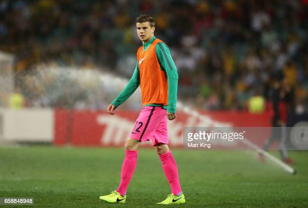 Socceroos goalkeeper Mitchell Langerak warms up on the pitch at halftime during the 2018 FIFA World Cup Qualifier match between the Australian...