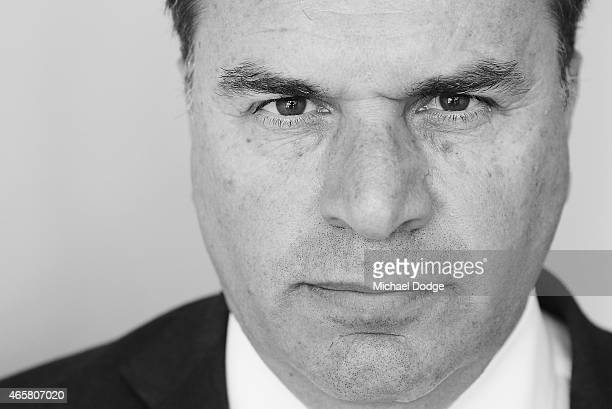Socceroos head coach Ange Postecoglou poses after an Australia Socceroos press conference at AAMI Park on March 11 2015 in Melbourne Australia The...