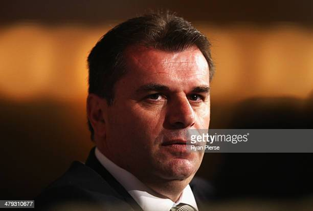 Socceroos Head Coach Ange Postecoglou speaks to the media during a press conference at The Westin on March 18 2014 in Sydney Australia