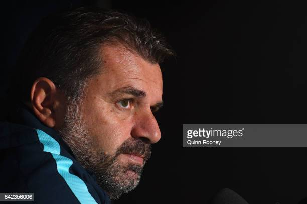 Socceroos head coach Ange Postecoglou speaks to the media during an Australian Socceroos media session at AAMI Park on September 4 2017 in Melbourne...