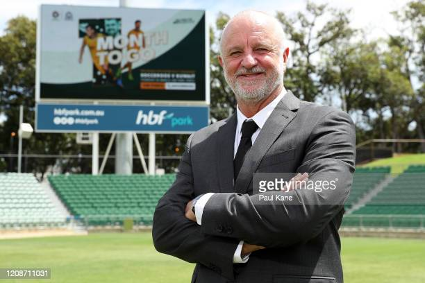 Socceroos Head Coach Graham Arnold poses after addressing the media during an Australian Socceroos media opportunity at HBF Park on February 26, 2020...
