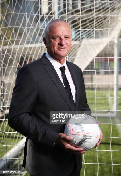 Socceroos Head Coach Graham Arnold poses after annoucing the Socceroos v Lebanon International friendly match at ANZ Stadium on August 30 2018 in...