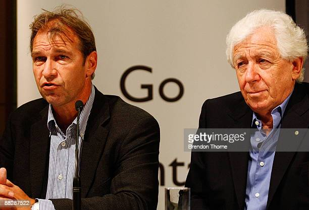 Socceroos manager Pim Verbeek and FFA Chairman Frank Lowy address the media during a press conference after the Australian Socceroos return from Doha...