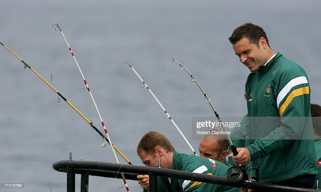 Socceroos player Mark Viduka participates in a fishing excursion on break from preparations by Australia for the 2006 World Cup held at the Yereske Village June 2, 2006 in Yereske, Netherlands.