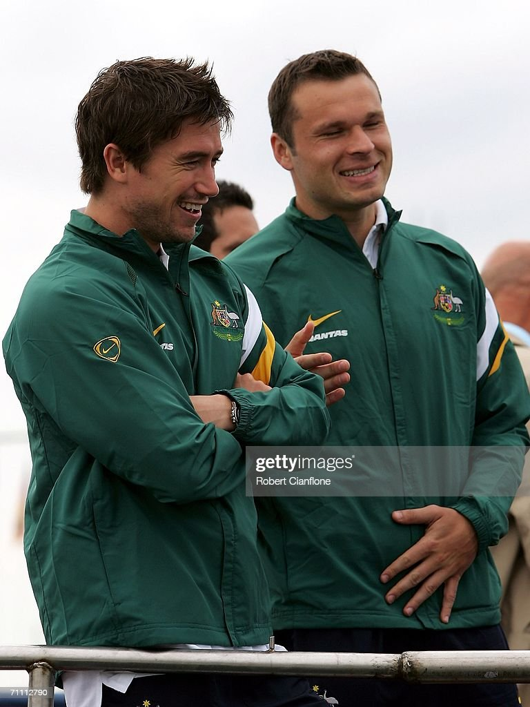 Socceroos players Harry Kewell (L) and Mark Viduka participate in a fishing excursion on break from preparations by Australia for the 2006 World Cup held at the Yereske Village June 2, 2006 in Yereske, Netherlands.