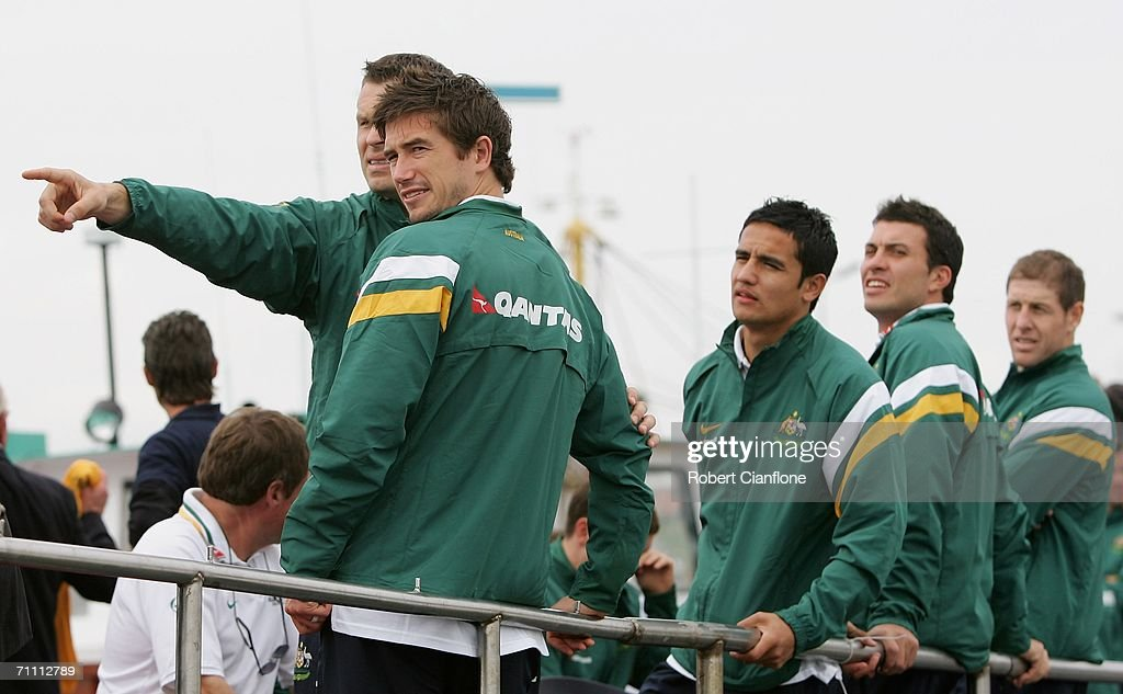 Socceroos players (L-R) Mark Viduka, Harry Kewell and Tim Cahill participate in a fishing excursion on break from preparations by Australia for the 2006 World Cup held at the Yereske Village June 2, 2006 in Yereske, Netherlands.