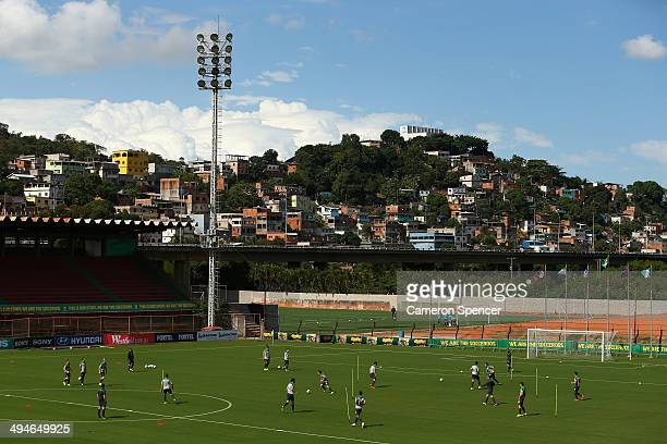 Socceroos players perform a drill during an Australian Socceroos training session at Arena Unimed Sicoob on May 30 2014 in Vitoria Brazil