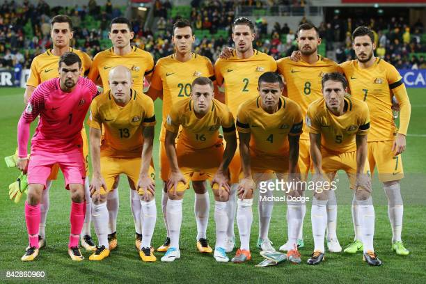 Socceroos players pose during the 2018 FIFA World Cup Qualifier match between the Australian Socceroos and Thailand at AAMI Park on September 5 2017...