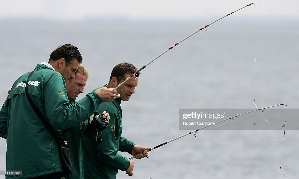 Socceroos players Zeljko Kalac, Craig Moore and Mark Viduka participate in a fishing excursion on break from preparations by Australia for the 2006 World Cup held at the Yereske Village June 2, 2006 in Yereske, Netherlands.