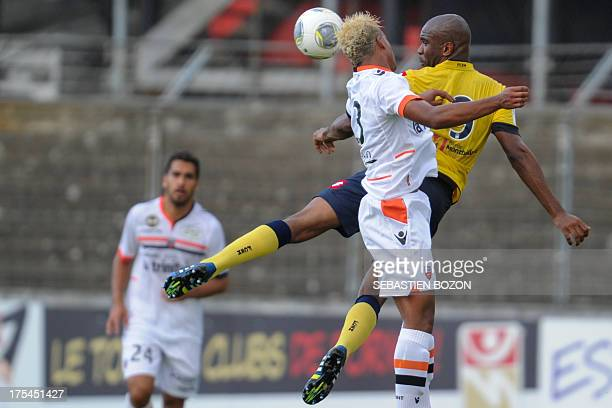 Sochaux' French forward Sloan Privat vies with Lorient's French midfielder Mario Lemina during the French L1 friendly football match Sochaux vs...