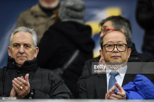 Sochaux's football club Chinese owner Li WingSang and French President of the Pays de Montbeliard's community of communes and owner of the Auguste...