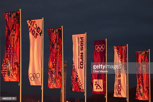 Sochi 2014 flags fly prior to the Sochi 2014 Winter Olympics at the Olympic Park on February 1 2014 in Sochi Russia