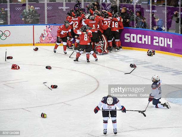 Women's HockeyGold medal game Canada vs USA Team Canada members celebrate their gold medal victory over Team USA in the women's hockey final
