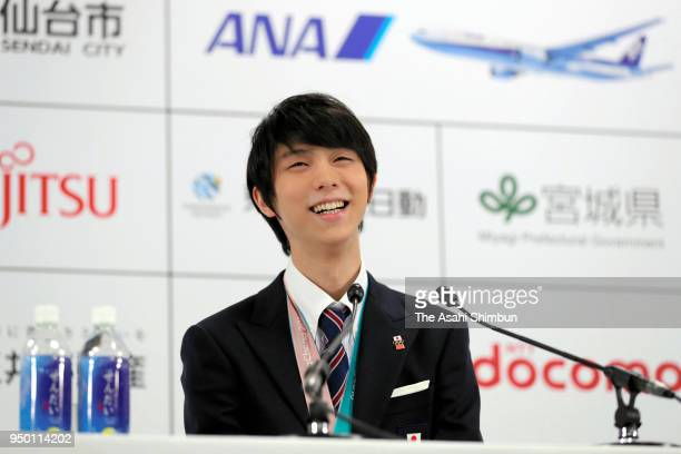 Sochi and PyeongChang Winter Olympic Games Figure Skating Men's Single gold medalist Yuzuru Hanyu attends a press conference after the parade on...