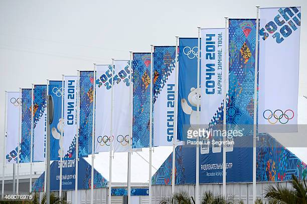 Sochi Olympic flags fly prior to the Sochi 2014 Winter Olympics at the Olympic Village on January 31 2014 in Sochi Russia