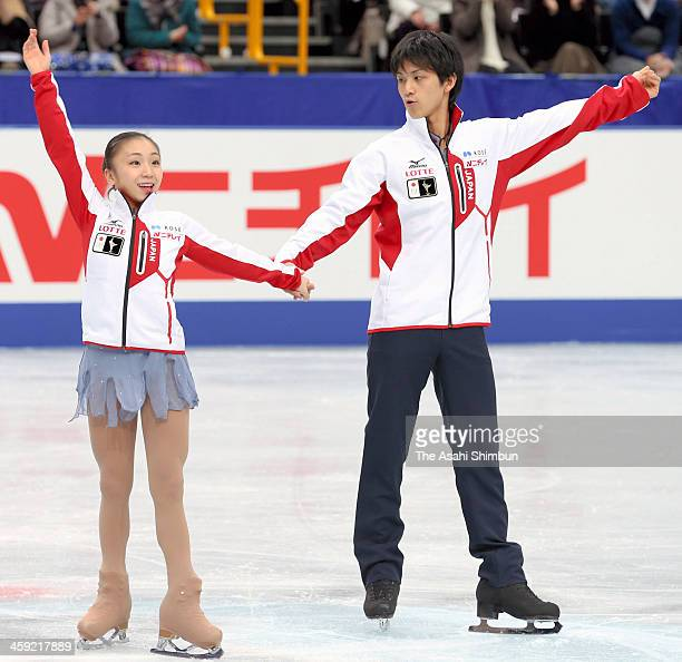 Sochi Olympic Japanese figure skaters Narumi Takahashi and Ryuichi Kihara pose after the 82nd All Japan Figure Skating Championships at Saitama Super...