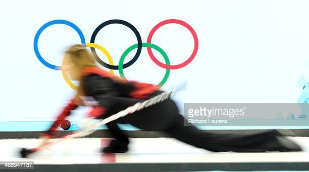 Sochi Russia February 12 SSOLY Canada's skip Jennifer jones hurls a stone At the Winter Olympics in Sochi the Canadian women's curling team beat...