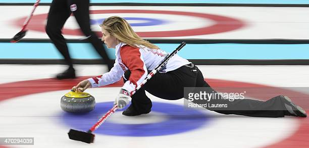 Sochi Russia February 19 SSOLY Canadian skip Jennifer Jones throws a stone late in the 8th end At the Winter Olympics in Sochi the Canadian women's...