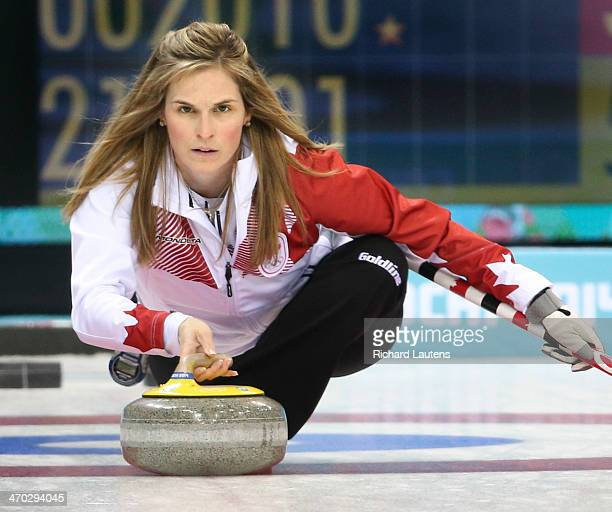 Sochi Russia February 19 SSOLY Canadian skip Jennifer Jones throws in the 7th end At the Winter Olympics in Sochi the Canadian women's curling team...