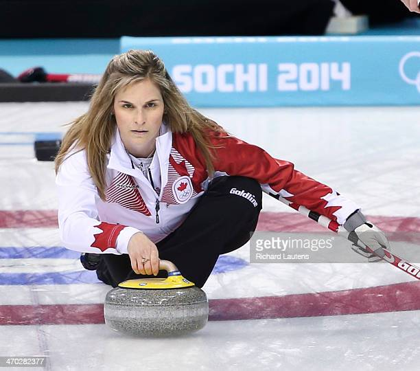 Sochi Russia February 19 SSOLY Canadian skip Jennifer Jones throws the hammerthe last stone of the 10th end for the winner At the Winter Olympics in...