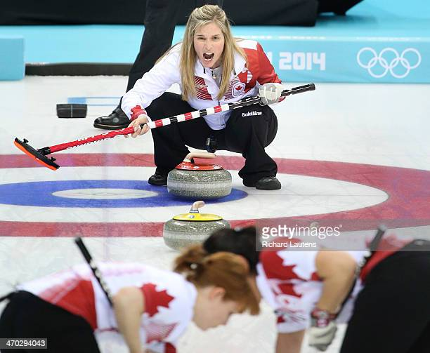 Sochi Russia February 19 SSOLY Canadian skip Jennifer Jones yells to her sweeping team mates At the Winter Olympics in Sochi the Canadian women's...