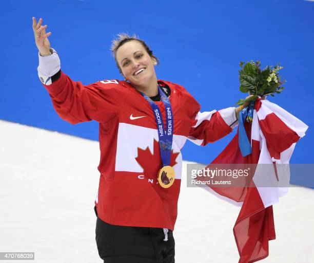 Sochi, Russia - February 20 - SSOLY- After getting her medal, the hero of the game, Marie-Philip Poulin blows a kiss to the crowd. At the Winter...