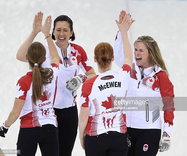 Sochi, Russia - February 20 - SSOLY- It's high fives all around for the curlers from Canada. At the Winter Olympics in Sochi, the unbeaten Canadian...