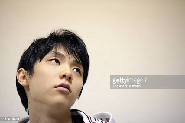 Sochi Winter Olympics Figure Skating Men's Singles gold medalist Yuzuru Hanyu poses for photographs during the Asahi Shimbun interview on April 10...