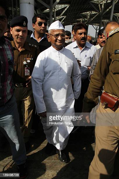 Social activist Anna Hazare arrives at the airport on February 22 2012 in New Delhi India Returning after getting a monthlong treatment for...