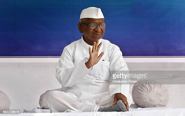 Social activist Anna Hazare during start of his twoday agitation against the land acquisition ordinance at Jantar Mantar on February 23 2015 in New...