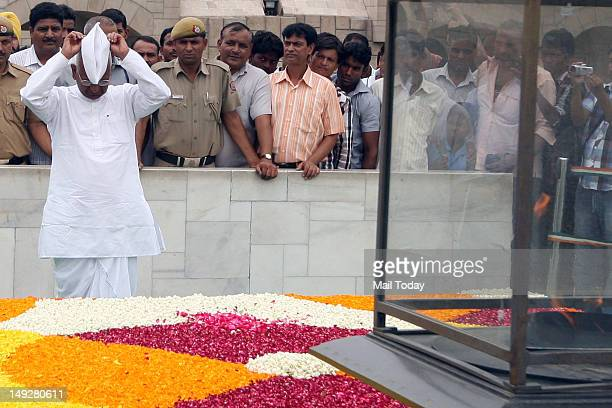 Social activist Anna Hazare paying homage at Rajghat in New Delhi on Wednesday