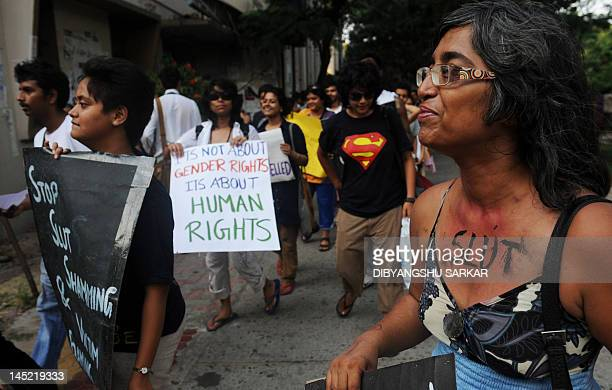 Social activists particiapte in a 'Slut Walk' in Kolkata on May 24 2012Hundreds of supporters particiapted in the rally organised to protest againest...