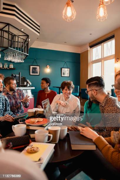 social book club meeting - book club meeting stock pictures, royalty-free photos & images