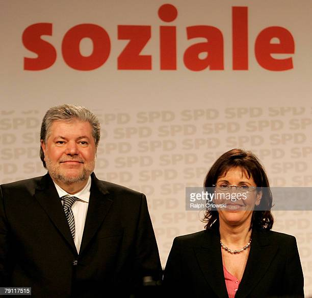 Social democrate Andrea Ypsilanti and Kurt Beck Governor of the German state of RhinelandPalatinate and head of the Social Democratic Party Germany...