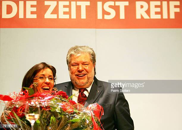 Social democrate Andrea Ypsilanti and Kurt Beck Governor of the German state of RhinelandPalatinate and chief of the Social Democratic Party...