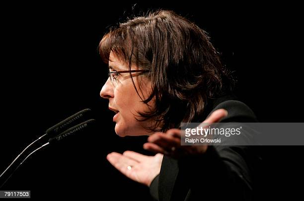 Social democrate Andrea Ypsilanti speaks during an election rally January on 19 2008 in Giessen Germany Ypsilanti is the top candidate of the SPD for...