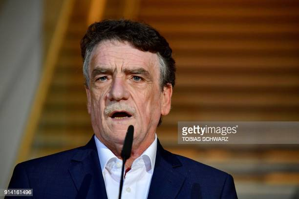Social Democratic Party executive Michael Groschek speaks at the SPD headquarters on February 4 2018 in Berlin as German Conservatives and Social...