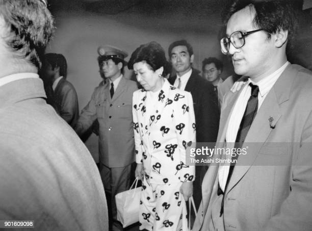 Social Democratic Party leader Takako Doi is seen after announcing her intention to resign at the diet building on June 21 1991 in Tokyo Japan