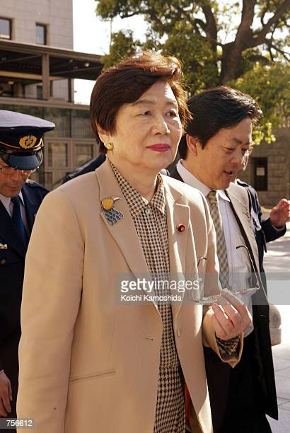 Social Democratic Party leader Takako Doi leaves parliament April 4 2002 in Tokyo An SDP panel investigating allegations that former SDP House of...