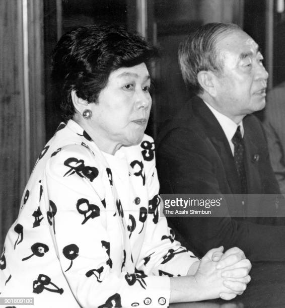 Social Democratic Party leader Takako Doi speaks during a press conference after announcing her intention to resign at the diet building on June 21...