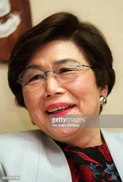 Social Democratic Party leader Takako Doi speaks during the Asahi Shimbun interview on February 3 1999 in Tokyo Japan
