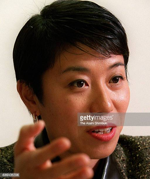 Social Democratic Party lower house lawmaker Kiyomi Tsuijmoto speaks during the Asahi Shimbun interview on October 19 2000 in Tokyo Japan