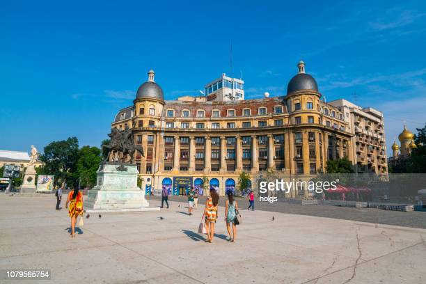 social democratic party of romania and the statue of michael the brave of equestrian, bucharest, romania, europe - monument stock pictures, royalty-free photos & images