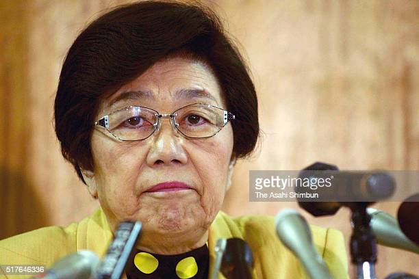 Social Democratic Party president Takako Doi announces the resignation during a press conference at the SDP headquarters on November 13 2003 in Tokyo...