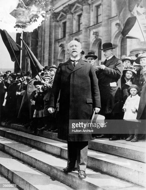 Social Democratic politician Philipp Scheidemann outside the Reichstag as first Chancellor of the Weimar Republic