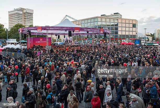 Social Democrats chancellor candidate Peer Steinbrueck appears during the SPD final rally for the election campaign on the Alexanderplatz on...