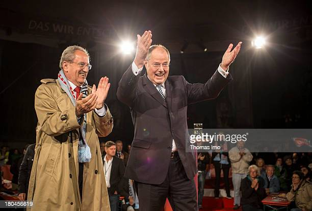 Social Democrats chancellor candidate Peer Steinbrueck next to Christian Ude top candidate of the SPD for the Bavarian Parliament Election during a...