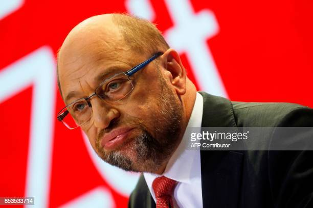 Social Democrats Party chairman and candidate for Chancellor Martin Schulz addresses a press conference after the party leadership meeting on...