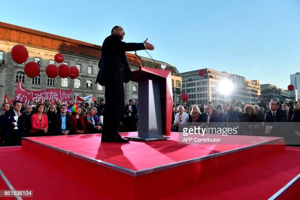 Social Democrats Party leader and candidate for Chancellor Martin Schulz delivers a speech on the podium during an election campaign rally of the SPD...
