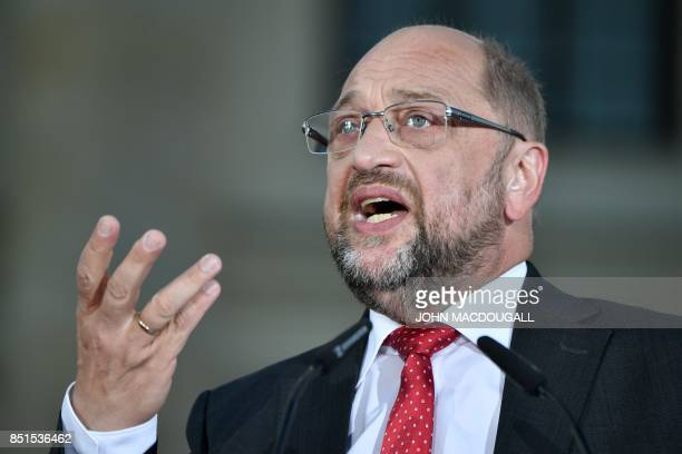 Social Democrats Party leader and candidate for Chancellor Martin Schulz addresses an election campaign rally of the SPD at Gendarmenmarkt square in...
